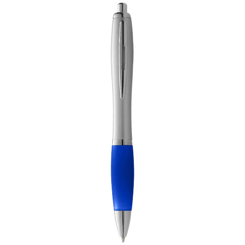 Nash ballpoint pen with silver barrel with coloured grip