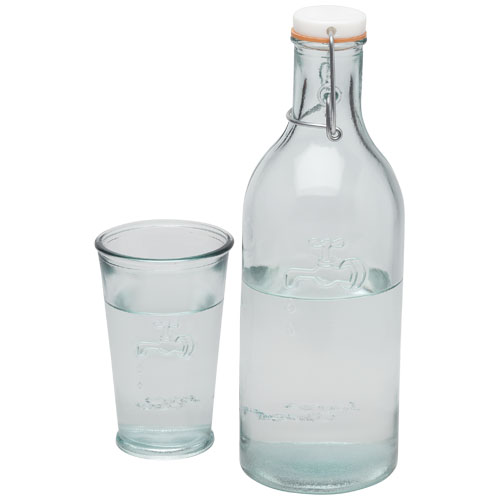 Water carafe and glass: 100% recycled glass