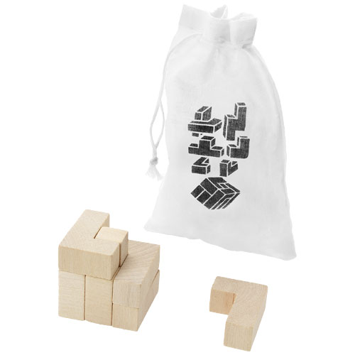 Solfee wooden squares brain teaser with pouch